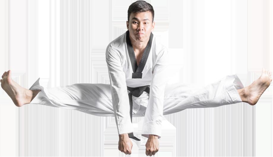 man karate kicking