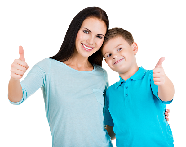 mother and son with thumbs up